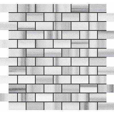 Horizon Brick 1 x 2 Stone Mosaic Tile in White Polished