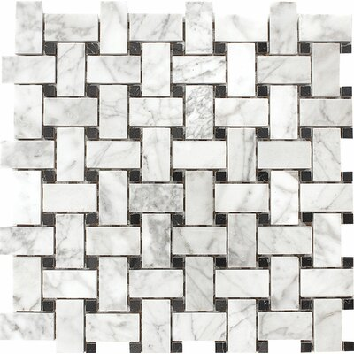 Carrara with Nero Marquina Basketweave Stone Mosaic Tile in White