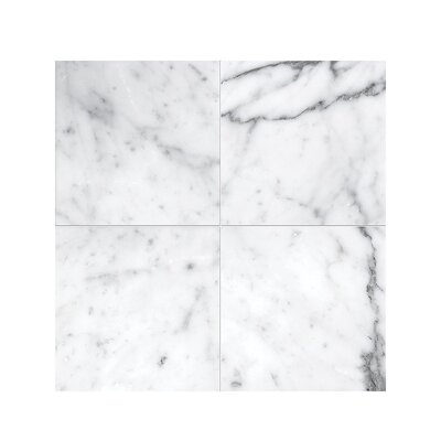 Carrara 4 x 4 Marble Field Tile in Polished White