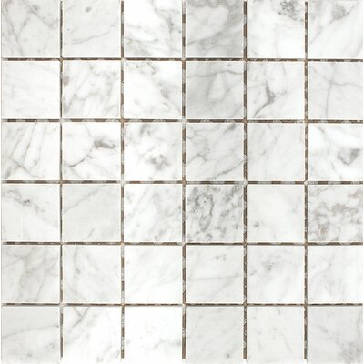 Carrara 2 x 2 Stone Mosaic Tile in White Polished