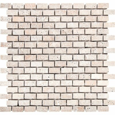 Tumbled Brick 1 x 2 Stone Mosaic Tile in Ivory