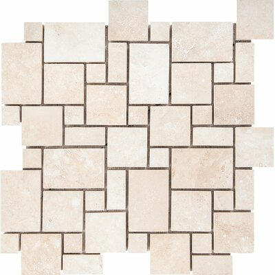 Mini Versailles Random Sized Stone Mosaic Tile in Ivory