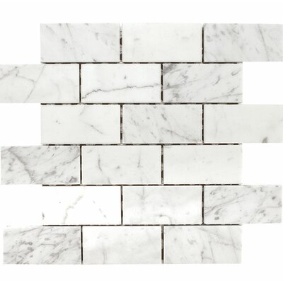 Carrara Brick 2 x 4 Stone Mosaic Tile in White Honed
