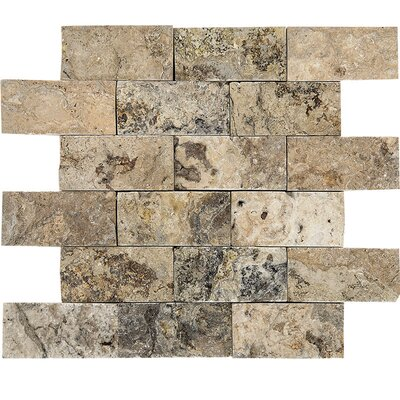Split Face 2 x 4 Stone Mosaic Tile in Antico