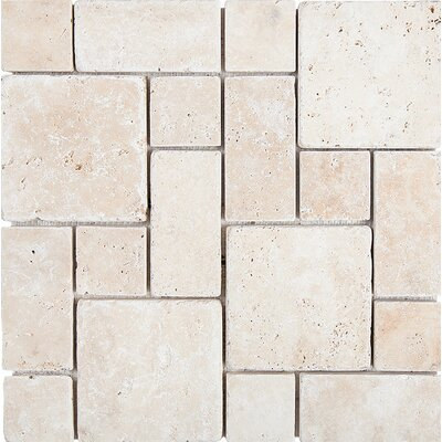 Roman Pattern Tumbled Random Sized Stone Mosaic Tile in Ivory