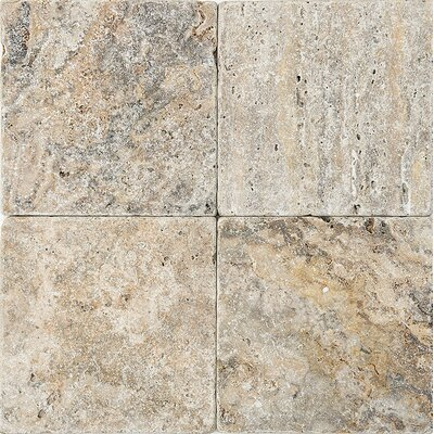 6 x 6 Travertine Field Tile in Gray