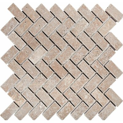 Herringbone 1 x 2 Stone Mosaic Tile in Noce Tumbled