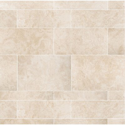 Macro Plank 36 x 8 Travertine Field Tile in Ivory Honed