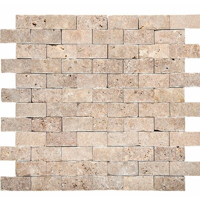 Split Face 1 x 2 Stone Mosaic Tile in Noce
