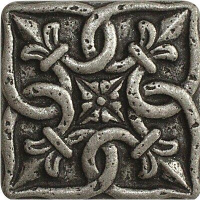 2 x 2 Renaissance Deco Accent Tile in Pewter