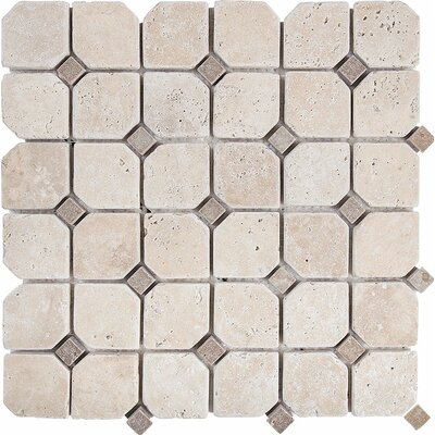 Tumbled Inserted 2 x 2 Stone Mosaic Tile in Tumbled Ivory/Noce
