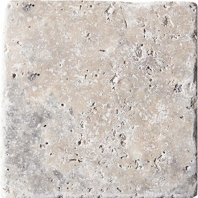 Tumbled 4 x 4 Travertine Field Tile in Silver