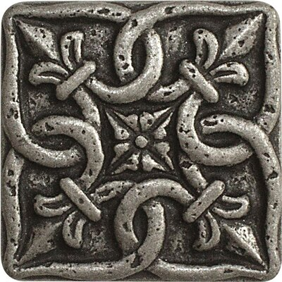 1 x 1 Renaissance Deco Accent Tile in Pewter