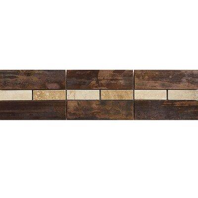 Morro Bay 12 x 3 Travertine Border Accent Tile in Copper