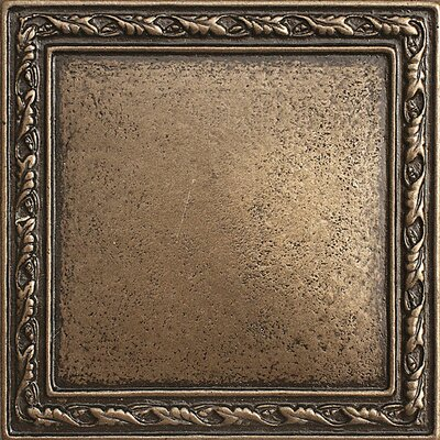 4 x 4 Olive Branch Deco Accent Tile in Bronze