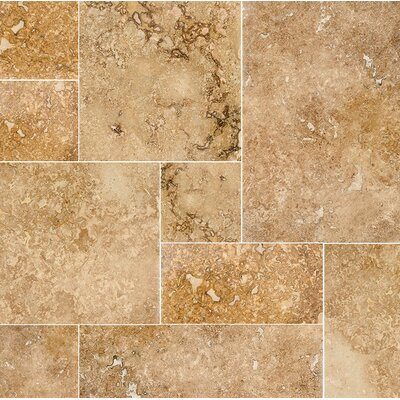 Modena Random Sized Travertine Field Tile in Beige/Gold