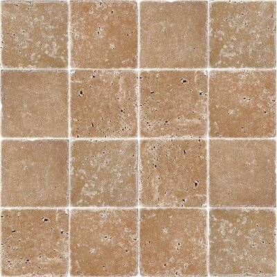 4 x 4 Travertine Field Tile in Expresso