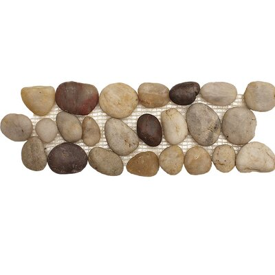 Pebble Border 12 x 4 Pebble Border Accent Tile in Wine