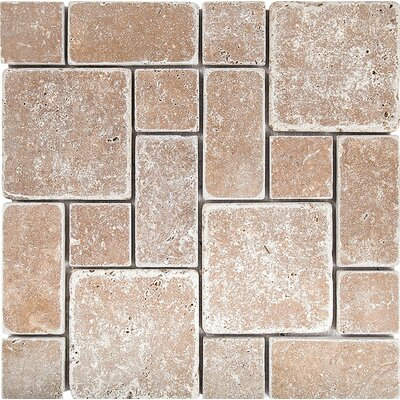 Roman Pattern Tumbled Random Sized Stone Mosaic Tile in Noce