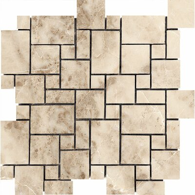 Mini Versailles Random Sized Stone Mosaic Tile in Cappuccino Polished