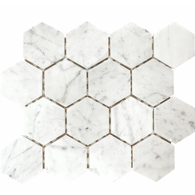 Carrara Hexagon 3 x 3 Stone Mosaic Tile in White Polished