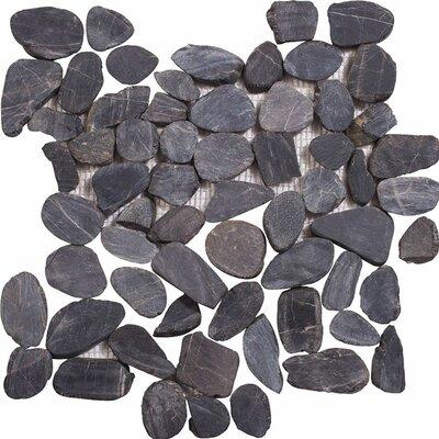 Sliced Stone Pebble Tile in Black