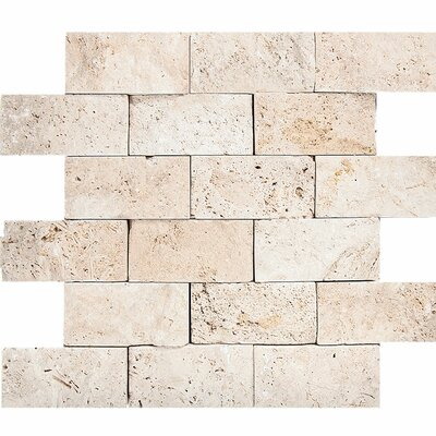Split Face 2 x 4 Stone Mosaic Tile in Ivory