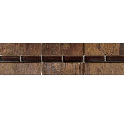 Morro Bay 11.81 x 3.94 Glass Border Accent Tile in Copper