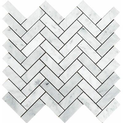 Carrara Grande Herringbone 1 x 3 Stone Mosaic Tile in White