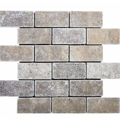 Tumbled Brick 2 x 4 Stone Mosaic Tile in Silver