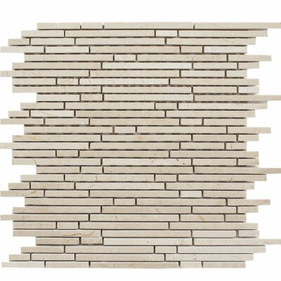 Crema Marfil Random Strips Random Sized Stone Mosaic Tile in Polished Tan