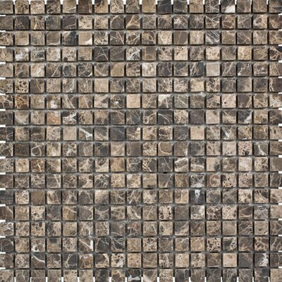 Emperador Tumbled 0.625 x 0.625 Stone Mosaic Tile in Dark