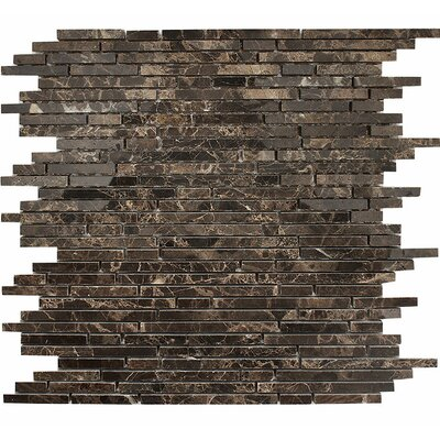 Emperador Random Strips Random Sized Stone Mosaic Tile in Polished Stone