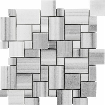 Horizon Mini Versailles Random Sized Stone Mosaic Tile in White Polished