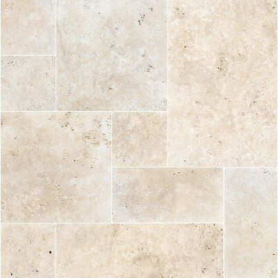 French Pattern Tumbled Random Sized Stone  Tile in Ivory
