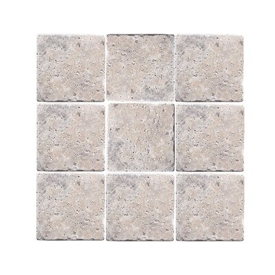 Tumbled 6 x 6 Travertine Field Tile in Silver