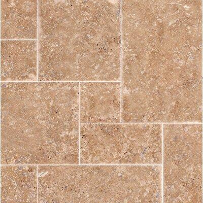 Random Sized Travertine Mosaic Tile in Light Walnut Chiseled Brushed