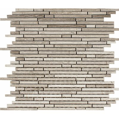 Wood Grain Random Strips Random Sized Stone Mosaic Tile in Polished Polished