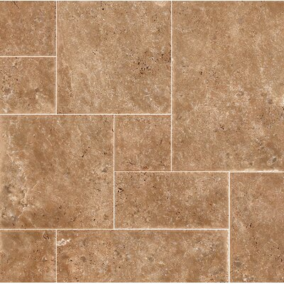 Random Sized Travertine Mosaic Tile in Dark Walnut Chiseled Brushed
