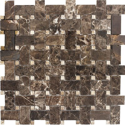 Emperador with Basketweave Stone Mosaic Tile in Dark/Light