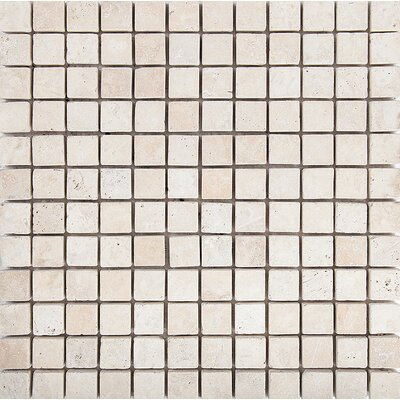 Tumbled 1 x 1 Stone Mosaic Tile in Ivory