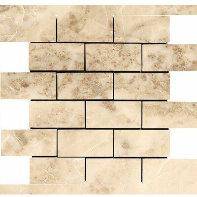Brick 2 x 4 Stone Mosaic Tile in Cappuccino Polished
