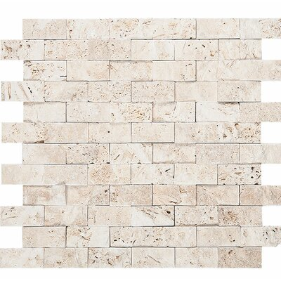 Split Face 1 x 2 Stone Mosaic Tile in Ivory