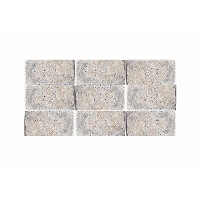 Tumbled 3 x 6 Natural Stone Subway Tile in Silver