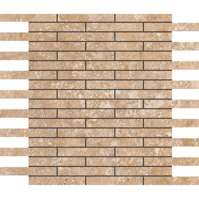 0.625 x 4 Stone Mosaic Tile in Walnut