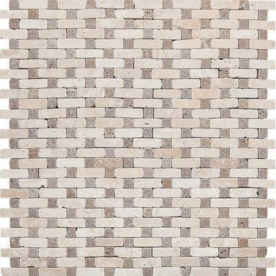 Tumbled Tic-Tac Stone Mosaic Tile in Ivory-Noce