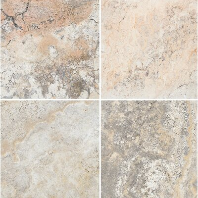 Scabos Unfilled 12 x 12 Travertine Field Tile in Gray