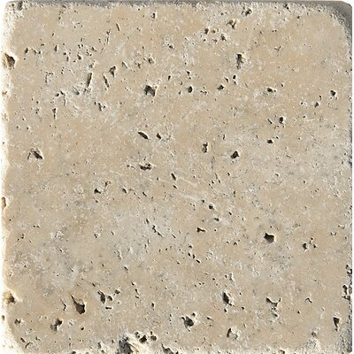 Philadelphia Tumbled 4 x 4 Travertine Field Tile in Beige