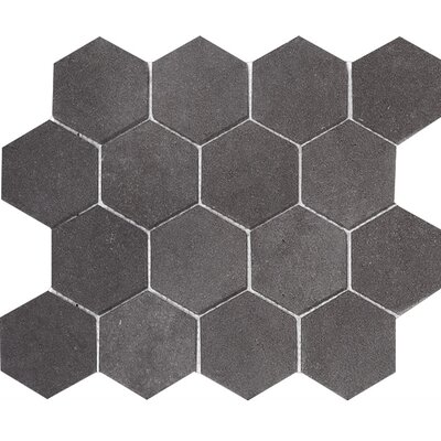 Lava Hexagon 3 x 3 Stone Mosaic Tile in Black Honed
