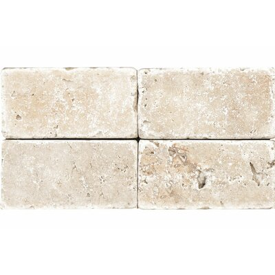 Tumbled 3 x 6 Natural Stone Subway Tile in Ivory
